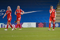 2nd May 2021; Kingsmeadow, London, England; Enttauschung beim FC Bayern Munchen, Hanna Glas FCB, Amanda Ilestedt FCB and Sarah Zadrazil FCB show their frustration at the end of the UEFA Womens Champions League, Chelsea FC versus FC Bayern Munich