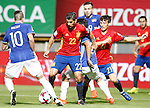 Spain's Nolito (2l) and David Silva (r) and Liechtenstein's Sandro Wieser (l), Michele Polverino (c-r) and Dennis Salanovic (2r) during FIFA World Cup 2018 Qualifying Round match. September 5,2016.(ALTERPHOTOS/Acero)