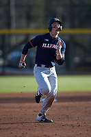 AlexSteinbach (34) of the Illinois Fighting Illini legs out a triple during the game against the Coastal Carolina Chanticleers at Springs Brooks Stadium on February 22, 2020 in Conway, South Carolina. The Fighting Illini defeated the Chanticleers 5-2. (Brian Westerholt/Four Seam Images)