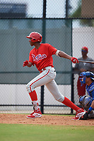 Philadelphia Phillies Carlos De La Cruz (53) at bat during an Instructional League game against the Toronto Blue Jays on September 30, 2017 at the Carpenter Complex in Clearwater, Florida.  (Mike Janes/Four Seam Images)