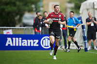 20120823 Copyright onEdition 2012©.Free for editorial use image, please credit: onEdition..Chris Ashton of Saracens runs in a hat trick of tries at The Honourable Artillery Company, London in the pre-season friendly between Saracens and Stade Francais Paris...For press contacts contact: Sam Feasey at brandRapport on M: +44 (0)7717 757114 E: SFeasey@brand-rapport.com..If you require a higher resolution image or you have any other onEdition photographic enquiries, please contact onEdition on 0845 900 2 900 or email info@onEdition.com.This image is copyright the onEdition 2012©..This image has been supplied by onEdition and must be credited onEdition. The author is asserting his full Moral rights in relation to the publication of this image. Rights for onward transmission of any image or file is not granted or implied. Changing or deleting Copyright information is illegal as specified in the Copyright, Design and Patents Act 1988. If you are in any way unsure of your right to publish this image please contact onEdition on 0845 900 2 900 or email info@onEdition.com