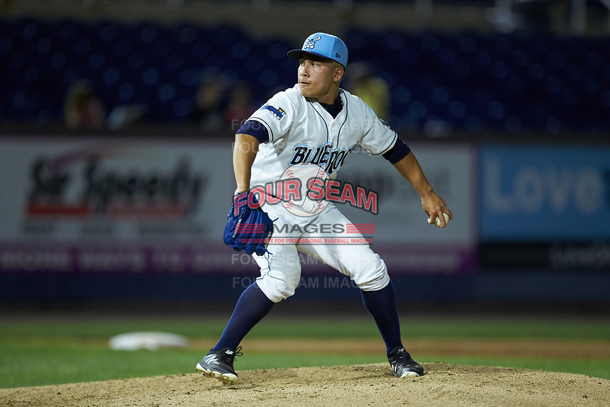 Wilmington Blue Rocks relief pitcher Rito Lugo (14) in action against the Fayetteville Woodpeckers at Frawley Stadium on June 6, 2019 in Wilmington, Delaware. The Woodpeckers defeated the Blue Rocks 8-1. (Brian Westerholt/Four Seam Images)
