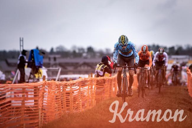 Thibau Nys (BEL) leading the race <br /> <br /> Men's Junior race<br /> UCI 2020 Cyclocross World Championships<br /> Dübendorf / Switzerland<br /> <br /> ©kramon