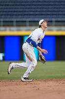 Duke Blue Devils shortstop Zack Kone (2) on defense against the California Golden Bears at Durham Bulls Athletic Park on February 20, 2016 in Durham, North Carolina.  The Blue Devils defeated the Golden Bears 6-5 in 10 innings.  (Brian Westerholt/Four Seam Images)