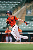 GCL Orioles right fielder Will Robertson (11) follows through on a swing during a game against the GCL Rays on July 21, 2017 at Ed Smith Stadium in Sarasota, Florida.  GCL Orioles defeated the GCL Rays 9-0.  (Mike Janes/Four Seam Images)