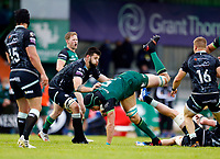 4th June 2021; Galway Sportsgrounds, Galway, Connacht, Ireland; Rainbow Cup Rugby, Connacht versus Ospreys; Ultan Dillane holds on to the ball for Connacht despite being tripped