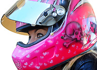 Sept. 24, 2011; Ennis, TX, USA: NHRA pro stock motorcycle rider Angie Smith during qualifying for the Fall Nationals at the Texas Motorplex. Mandatory Credit: Mark J. Rebilas-