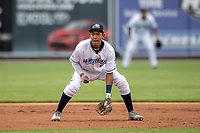 West Michigan Whitecaps third baseman Jose King (5) on defense against the Bowling Green Hot Rods on May 21, 2019 at Fifth Third Ballpark in Grand Rapids, Michigan. The Whitecaps defeated the Hot Rods 4-3.  (Andrew Woolley/Four Seam Images)