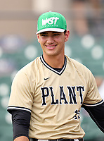 Plant High School pitcher Jac Caglianone (19) before the 42nd Annual FACA All-Star Baseball Classic on June 5, 2021 at Joker Marchant Stadium in Lakeland, Florida.  (Mike Janes/Four Seam Images)