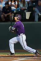 Kyle Von Tungeln #1 of the TCU Horned Frogs bats against the UCLA Bruins at the Los Angeles super regionals at Jackie Robinson Stadium on June 9, 2012 in Los Angeles,California. UCLA defeated TCU 4-1.(Larry Goren/Four Seam Images)