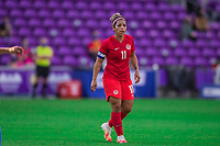 ORLANDO, FL - FEBRUARY 24: Desiree Scott #11 of the CANWNT waiting for the ball during a game between Brazil and Canada at Exploria Stadium on February 24, 2021 in Orlando, Florida.
