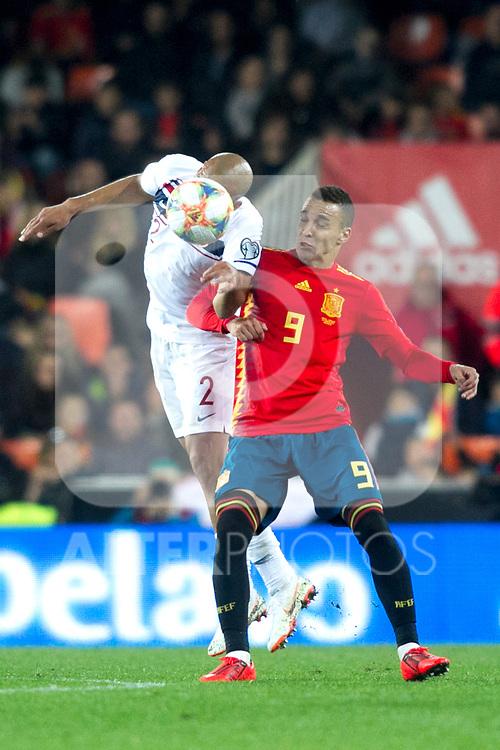 Norway's Haitam Aleesami and Spain's Rodrigo Moreno  during the qualifying match for Euro 2020 on 23th March, 2019 in Valencia, Spain. (ALTERPHOTOS/Alconada)