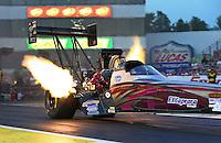 May 31, 2013; Englishtown, NJ, USA: NHRA top fuel dragster driver Leah Pruett during qualifying for the Summer Nationals at Raceway Park. Mandatory Credit: Mark J. Rebilas-