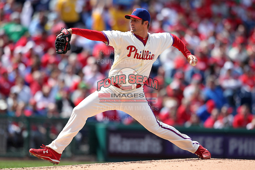 Philadelphia Phillies pitcher Joe Savery #55 delivers a pitch during their home opener against the Miami Marlins at Citizens Bank Park on April 9, 2012 in Philadelphia, Pennsylvania.  Miami defeated Philadelphia 6-2.  (Mike Janes/Four Seam Images)