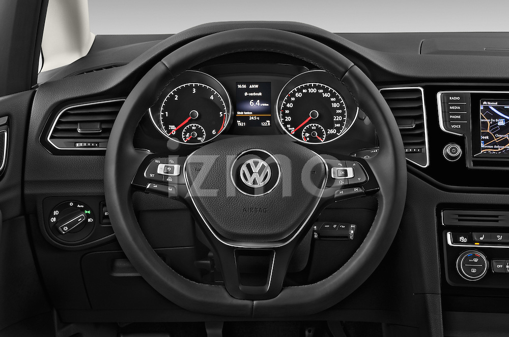 Car pictures of steering wheel view of a 2014 Volkswagen GOLF SPORTSVAN Highline 5 Door Mini MPV 2WD Steering Wheel