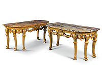 BNPS.co.uk (01202 558833)<br /> Pic: Christies/BNPS<br /> <br /> Pictured: A pair of George III giltwood console tables that sold for £550,000.<br /> <br /> An impressive collection of furniture and artworks amassed by British designer Jasper Conran has sold for a massive £6.7m.<br /> <br /> Several paintings set new world auction records and the top lot was a 16th century portrait of Anthony Maria Browne, that sold for £742,500.<br /> <br /> The collection, which spans four centuries and had been gathered over 30 years, had filled Conran's impressive home at New Wardour Castle in Wiltshire.<br /> <br /> But he put the property on the market last August and after downsizing to a smaller home decided to auction most of his treasures.