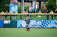 Lehigh Valley IronPigs right fielder Joey Meneses (38) settles under a fly ball during a game against the Buffalo Bisons on June 23, 2018 at Coca-Cola Field in Buffalo, New York.  Lehigh Valley defeated Buffalo 4-1.  (Mike Janes/Four Seam Images)