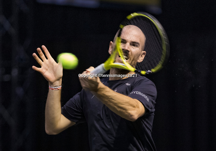Rotterdam, The Netherlands, 2 march  2021, ABNAMRO World Tennis Tournament, Ahoy, First round :  Adrian Mannarino (FRA)<br /> Photo: www.tennisimages.com/henkkoster