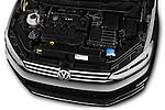 Car Stock 2016 Volkswagen Touran Highline 5 Door Mini Mpv Engine high angle detail view
