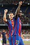FC Barcelona's Lucas Digne (l) and Samuel Umtiti celebrate the victory in theSupercup of Spain.August 17,2016. (ALTERPHOTOS/Acero)