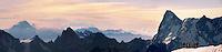 Climbers leaving Alguille du Midi for the Mont Blanc Massif, Chamonix Mont Blanc, France