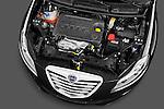High angle engine detail of a 2011 Lancia Delta Gold 5 Door Hatchback .