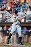 Mahoning Valley Scrappers shortstop Austin Fisher (12) at bat during a game against the Batavia Muckdogs on August 22, 2014 at Dwyer Stadium in Batavia, New York.  Mahoning Valley defeated Batavia 2-1.  (Mike Janes/Four Seam Images)