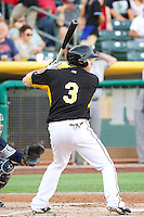 J.B. Shuck (3) of the Salt Lake Bees at bat against the Tacoma Rainiers in Pacific Coast League action at Smith's Ballpark on July 8, 2014 in Salt Lake City, Utah.  (Stephen Smith/Four Seam Images)