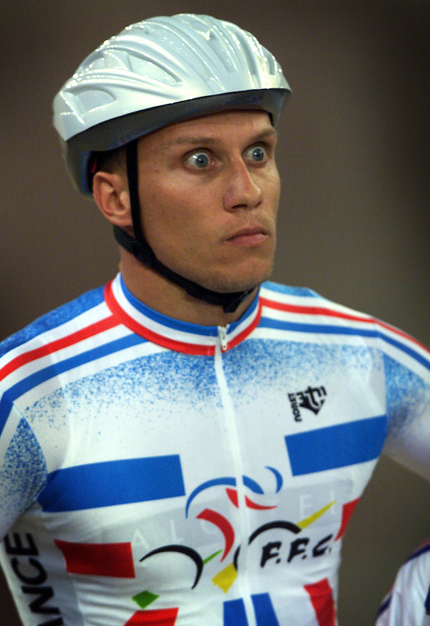 French cyclist Florian Rosseau concentrates before his ride in the keirin at the 2000 Sydney Olympic Games.  he won the gold medal    pic by Trevor Collens