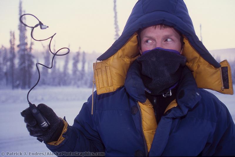 Minus 40 below zero, freezes remote plastic cord for camera, Fairbanks, Alaska.