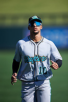 Salt River Rafters outfielder Victor Victor Mesa (10), of the Miami Marlins organization, warms up before the Arizona Fall League Championship Game against the Surprise Saguaros on October 26, 2019 at Salt River Fields at Talking Stick in Scottsdale, Arizona. The Rafters defeated the Saguaros 5-1. (Zachary Lucy/Four Seam Images)