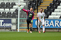 Pictured: Swansea cgairman Huw Jenkins (L) the team Woodyatt goalkeeper. Sunday, 01 June 2014<br /> Re: Celebrities v Celebrities football game organised by Sellebrity Scoccer, in aid of Swansea City Community Trust, at the Liberty Stadium, south Wales.