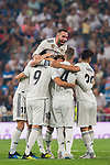 Karim Benzema of Real Madrid celebrates with teammates during the La Liga 2018-19 match between Real Madrid and CD Leganes at Estadio Santiago Bernabeu on September 01 2018 in Madrid, Spain. Photo by Diego Souto / Power Sport Images