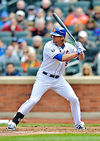 11 April 2012: New York Mets outfielder Kirk Nieuwenhuis in action against the Washington Nationals at Citi Field in Flushing, New York. The Nationals shut out the Mets 4-0 to take the rubber match of their 3-game series. Mandatory Credit: Ed Wolfstein Photo