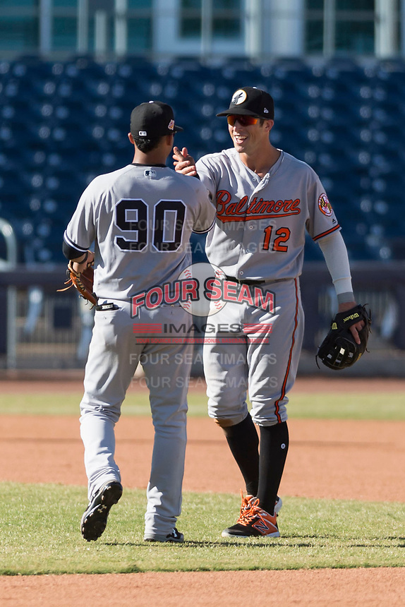 Glendale Desert Dogs second baseman Steve Wilkerson (12) celebrates a victory with shortstop Thairo Estrada (90) after an Arizona Fall League game against the Peoria Javelinas at Peoria Sports Complex on October 22, 2018 in Peoria, Arizona. Glendale defeated Peoria 6-2. (Zachary Lucy/Four Seam Images)