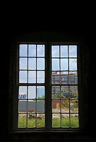 View through warped glass of a warehouse window