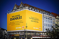 04 04 2020,Berlin,Germany,GER,the city in times of the corona pandemic The mineral oil and natural gas company Shell says thanks Seen at Kaiserdamm on the corner of Witzlebenplatz<br /> Photo Imago/Panoramic/Insidefoto