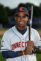 Connecticut Tigers second baseman Domingo Leyba (7) poses for a photo before a game against the Batavia Muckdogs on July 21, 2014 at Dwyer Stadium in Batavia, New York.  Connecticut defeated Batavia 12-3.  (Mike Janes/Four Seam Images)
