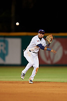 Pensacola Blue Wahoos shortstop Luis Arraez (1) throws to first base during a Southern League game against the Biloxi Shuckers on May 3, 2019 at Admiral Fetterman Field in Pensacola, Florida.  Pensacola defeated Biloxi 10-8.  (Mike Janes/Four Seam Images)