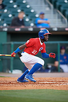 Buffalo Bisons center fielder Roemon Fields (37) bats during a game against the Syracuse Chiefs on May 18, 2017 at Coca-Cola Field in Buffalo, New York.  Buffalo defeated Syracuse 4-3.  (Mike Janes/Four Seam Images)