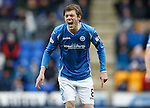 St Johnstone v Celtic...13.12.15  SPFL  McDiarmid Park, Perth<br /> Murray Davidson screams at his team mates<br /> Picture by Graeme Hart.<br /> Copyright Perthshire Picture Agency<br /> Tel: 01738 623350  Mobile: 07990 594431