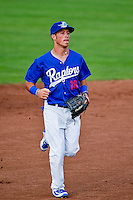Brandon Montgomery (18) of the Ogden Raptors during the game against the Great Falls Voyagers in Pioneer League action at Lindquist Field on August 17, 2016 in Ogden, Utah. Ogden defeated Great Falls 5-2. (Stephen Smith/Four Seam Images)