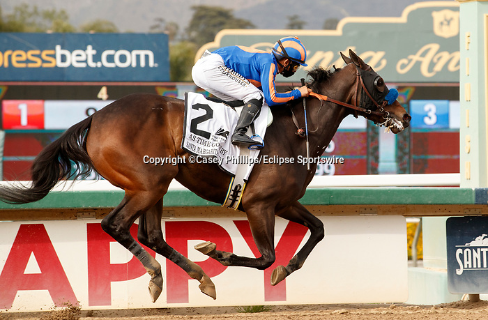 ARCADIA, CA  APRIL 24:  #2 As Time Goes By, ridden by Mike Smith, annihilates the field and wins the Santa Margarita Stakes (Grade ll) on April 24, 2021 at Santa Anita Park in Arcadia, CA. (Photo by Casey Phillips/ Eclipse Sportswire/ CSM)