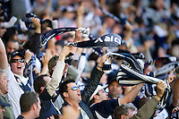 MELBOURNE, AUSTRALIA - DECEMBER 27: Victory fans celebrate a goal during the round 20 A-League match between the Melbourne Victory and the Newcastle Jets at AAMI Park on December 27, 2010 in Melbourne, Australia. (Photo by Sydney Low / Asterisk Images)