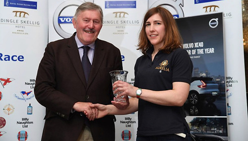 Billy Naughton of Volvo agents Billy Naughton Cars presenting the second overall prize to Patanne Power-Smith of the J/122 Aurelia (RStGYC) at the prizegiving in the Dingle Skellig Hotel after 2019's race