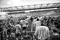 Kansas City, MO - Thursday, Oct 11, 2013: The USMNT warm up before it's WC qualifying match with Jamaica.