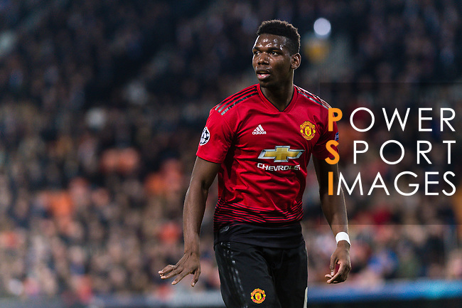 Paul Pogba of Manchester United gestures during the UEFA Champions League 2018-19 match between Valencia CF and Manchester United at Estadio de Mestalla on December 12 2018 in Valencia, Spain. Photo by Maria Jose Segovia Carmona / Power Sport Images