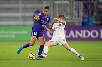 Orlando, FL - Saturday March 24, 2018:  Orlando Pride defender Poliana Barbosa Medeiros (19) is challenged by Utah Royals defender Becca Moros (2) during a regular season National Women's Soccer League (NWSL) match between the Orlando Pride and the Utah Royals FC at Orlando City Stadium. The game ended in a 1-1 draw.