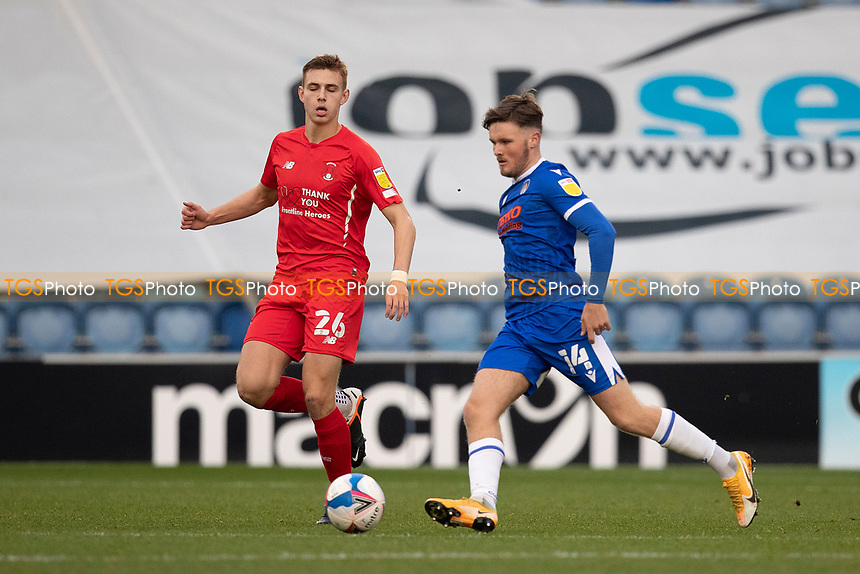 Noah Chilvers, Colchester United under pressure from Hector Kyprianou, Leyton Orient during Colchester United vs Leyton Orient, Sky Bet EFL League 2 Football at the JobServe Community Stadium on 14th November 2020