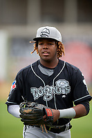 Lansing Lugnuts third baseman Vladimir Guerrero Jr. (27) before a game against the Clinton LumberKings on May 9, 2017 at Ashford University Field in Clinton, Iowa.  Lansing defeated Clinton 11-6.  (Mike Janes/Four Seam Images)